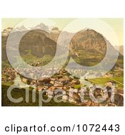 Photochrom Of The Linth River In The Town Of Schwanden Glarus Switzerland Royalty Free Historical Stock Photography by JVPD