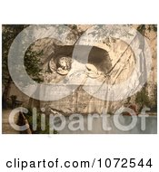 Photochrom Of The Lion Monument In Switzerland Royalty Free Historical Stock Photography