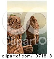 Photochrom Of The Monk Formation In Heligoland Germany Royalty Free Historical Stock Photo by JVPD