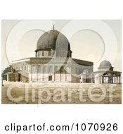 Photochrom Of The Mosque Of Omar And Judgment Seat Of David Jerusalem Royalty Free Historical Stock Photo