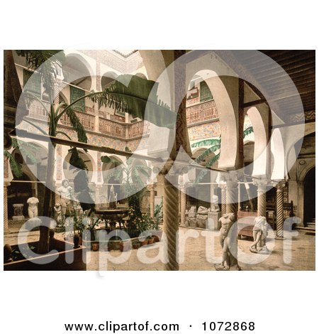 Photochrom of the Museum Entrance Hall With Banana Trees, Fountains and Statues, Algeria - Royalty Free Historical Stock Photography by JVPD
