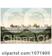 Photochrom Of The Park Garden And Palace At Fontainebleau Royalty Free Historical Stock Photo