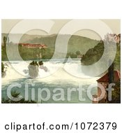 Photochrom Of The Rhine Falls And Laufen Castle Switzerland Royalty Free Historical Stock Photography