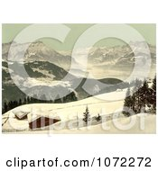 Photochrom Of The Rhone Valley In Winter Switzerland Royalty Free Historical Stock Photography by JVPD