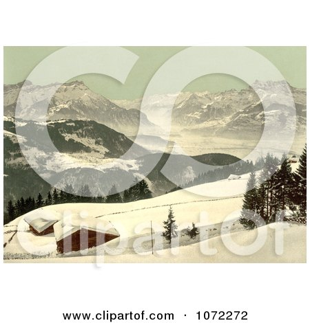 Photochrom of the Rhone Valley in Winter, Switzerland - Royalty Free Historical Stock Photography by JVPD