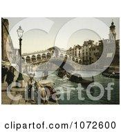 Photochrom Of The Rialto Bridge Venice Italy Royalty Free Historical Stock Photography by JVPD