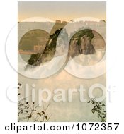 Photochrom Of The Rocks In The Center Of Rhine Falls Royalty Free Historical Stock Photography