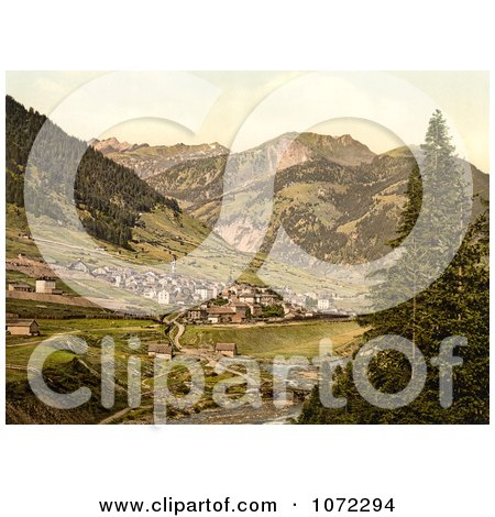 Photochrom of the St. Gotthard Railway in Airolo, Switzerland - Royalty Free Historical Stock Photography by JVPD