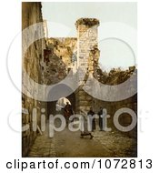 Photochrom Of The Tower Of Antonia Jerusalem Royalty Free Historical Stock Photography by JVPD