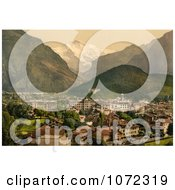 Photochrom Of The Town Of Interlaken Near Jungfrau Mountain Royalty Free Historical Stock Photography