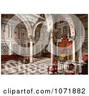 Photochrom Of The Tribunal Chamber At Bardo Tunis Tunisia Royalty Free Historical Stock Photo