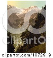 Photochrom Of The Valley Of Lintthal In Switzerland Royalty Free Historical Stock Photography