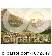 Photochrom Of The Village In Engelberg Valley Switzerland Royalty Free Historical Stock Photography