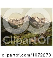 Photochrom Of The Village Of Champery Switzerland Royalty Free Historical Stock Photography by JVPD