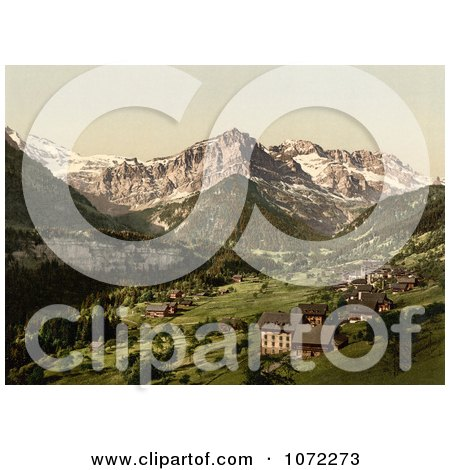 Photochrom of the Village of Champery, Switzerland - Royalty Free Historical Stock Photography by JVPD