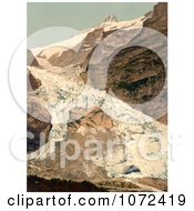 Photochrom Of The Village Of Grindelwald And Eiger Glacier Royalty Free Historical Stock Photography