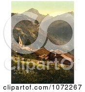 Photochrom Of The Village Of Gryon Switzerland Royalty Free Historical Stock Photography by JVPD