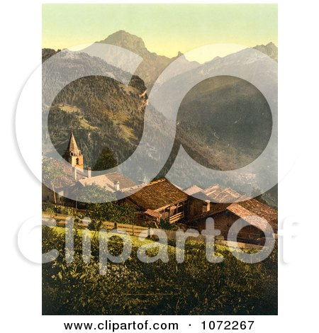Photochrom of the Village of Gryon, Switzerland - Royalty Free Historical Stock Photography by JVPD