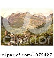 Photochrom Of The Village Of Hospenthal Near Furka Pass Switzerland Royalty Free Historical Stock Photography