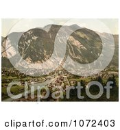 Photochrom Of The Village Of Interlaken Switzerland Royalty Free Historical Stock Photography by JVPD