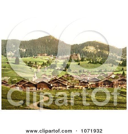 Photochrom of the Village of Leysin, Switzerland - Royalty Free Historical Stock Photo by JVPD