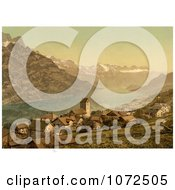 Photochrom Of The Village Of Obstalden Switzerland Royalty Free Historical Stock Photography