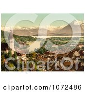 Photochrom Of The Village Of Thun And Lake Thun In Switzerland Royalty Free Historical Stock Photography