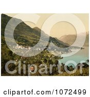 Photochrom Of The Waterfront Village Of Sachseln Switzerland Royalty Free Historical Stock Photography