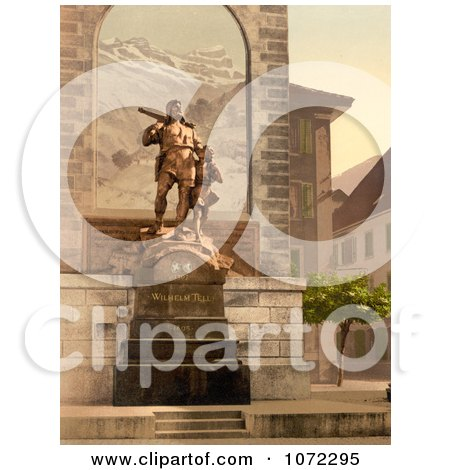 Photochrom of the William Tell Memorial in Altdorf, Switzerland - Royalty Free Historical Stock Photography by JVPD