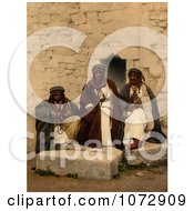 Photochrom Of Three Bedouins In Jordan Royalty Free Historical Stock Photography by JVPD