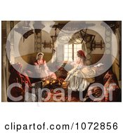 Photochrom Of Three Moorish Women Chatting Indoors Royalty Free Historical Stock Photography by JVPD