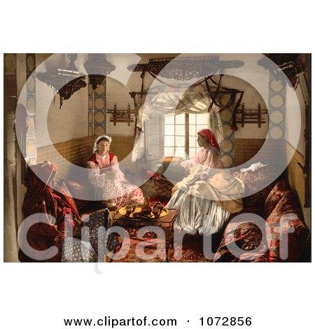 Photochrom of Three Moorish Women Chatting Indoors - Royalty Free Historical Stock Photography by JVPD