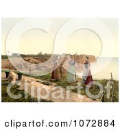 Photochrom Of Three Women By A Cliff With A Goat Heligoland Germany Royalty Free Historical Stock Photography by JVPD