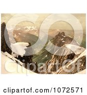Photochrom Of Titlis Mountain In The Swiss Alps Royalty Free Historical Stock Photography