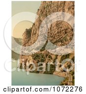 Photochrom Of Train Tracks Along Lake Lucerne Royalty Free Historical Stock Photography