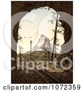 Photochrom Of Train Tracks In A Tunnel And Matterhorn Mountain Royalty Free Historical Stock Photography
