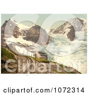 Photochrom Of Train Tracks Near Jungfrau Eiger And Monch Mountains Royalty Free Historical Stock Photography