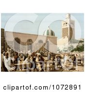 Photochrom Of Vendors And Customers At The Ebony Market Tunis Tunisia Royalty Free Historical Stock Photography by JVPD