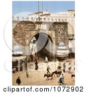 Photochrom Of Vendors And Pedestrians At The French Gate Tunis Tunisia Royalty Free Historical Stock Photography by JVPD