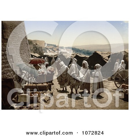 Photochrom of Vendors and People, Constantine, Algeria - Royalty Free Historical Stock Photography by JVPD