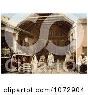 Photochrom Of Vendors At A Bazaar Tunis Tunisia Royalty Free Historical Stock Photography by JVPD