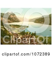 Photochrom Of Wallenstadt Lake And Aliver Mountains Switzerland Royalty Free Historical Stock Photography