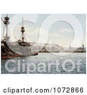 Photochrom Of Warships In The Harbor Algiers Algeria Royalty Free Historical Stock Photography