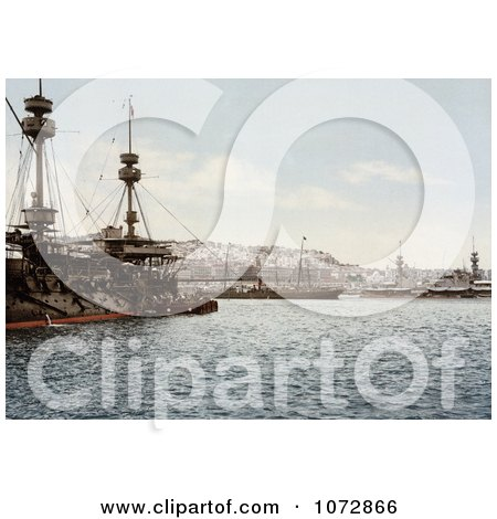 Photochrom of Warships in the Harbor, Algiers, Algeria - Royalty Free Historical Stock Photography by JVPD