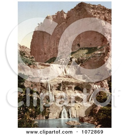 Photochrom of Waterfalls in the Cascades, Constantine, Algeria - Royalty Free Historical Stock Photography by JVPD