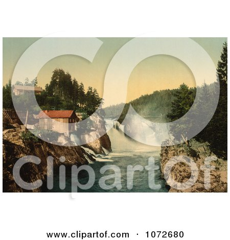 Photochrom of Waterfalls, Tinnfossen, Telemark, Norway - Royalty Free Historical Stock Photography by JVPD