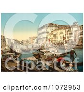 Photochrom Of Waterfront Buildings And Gondolas Grand Canal Royalty Free Historical Stock Photography