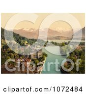 Photochrom Of Waterfront Buildings Of Thun Switzerland Royalty Free Historical Stock Photography