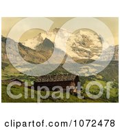 Photochrom Of Wengen And Jungfrau Mountains Switzerland Royalty Free Historical Stock Photography by JVPD