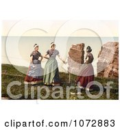 Photochrom Of Women Chatting Heligoland Germany Royalty Free Historical Stock Photography by JVPD